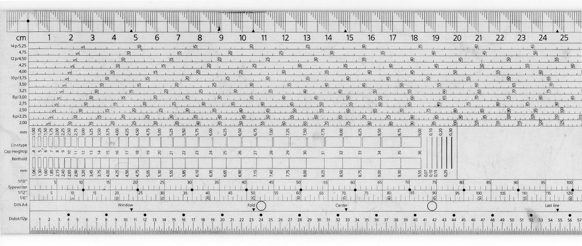 Das Typometer misst vor allem im Print den typographischen Maßstab.