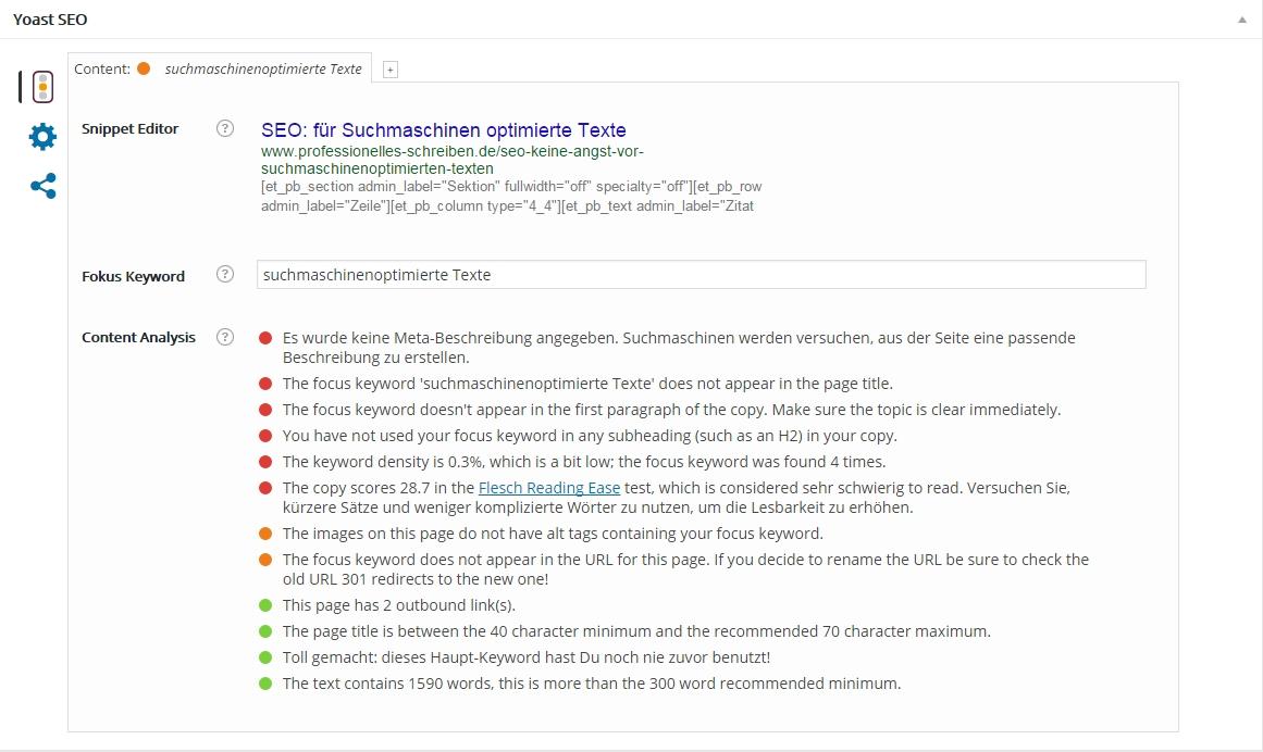 suchmaschinenoptimierte Texte mit dem WordPress-Plugin Yoast-SEO